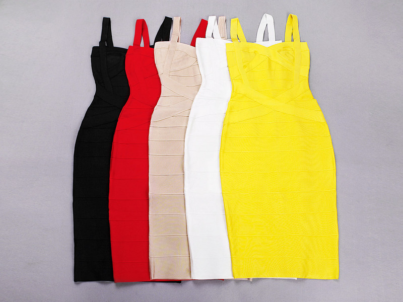2015 new yellow spaghetti straps cross knee length midi HL bandage dress white black red beige blue(China (Mainland))