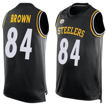 2016 Newstyle Fashion Steeler Summer Must Haves Men's Roethlisberger Brown Bell Black Player Name Pittsburgh Sports Tank Top(China (Mainland))