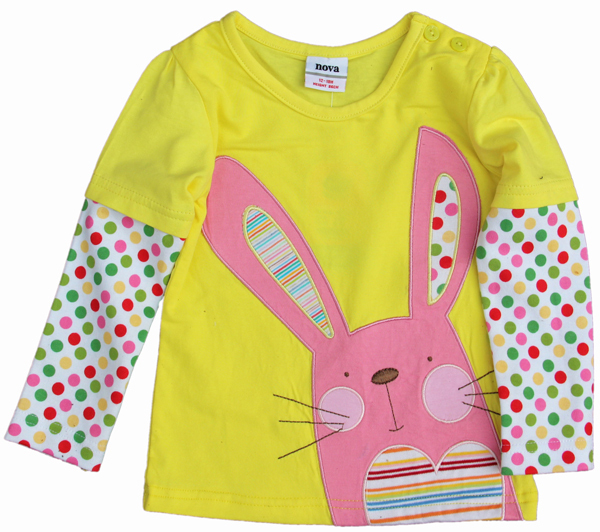 Free shipping 5pcs/lot 100% cotton girl's t shirt with patchwork polka dots long sleeves and lovely rabbit, green and yellow
