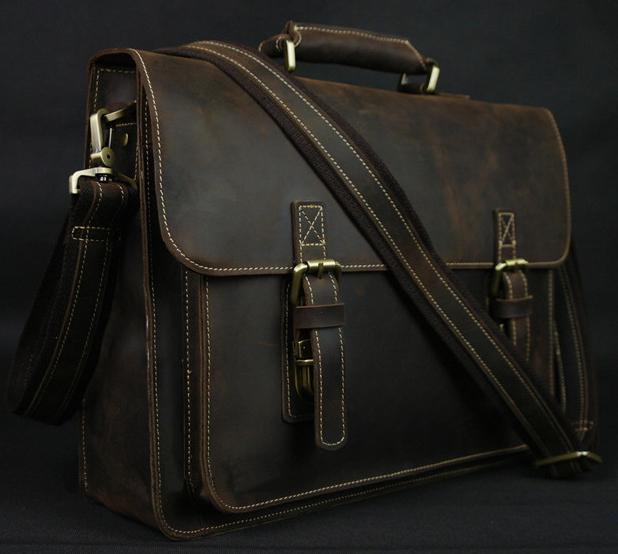 Vintage Crazy Horse Leather Men's Briefcase Laptop Business Case Genuine Leather Messenger Bag Men Shoulder Bag Crossbody Bag