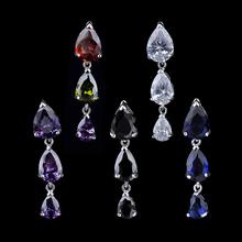 5 Colors!Fashion Popular Teardrop Cubic Zircon Diamond Earring Long Crystal Dangledrop Earrings Factory Price GLE1845(China (Mainland))