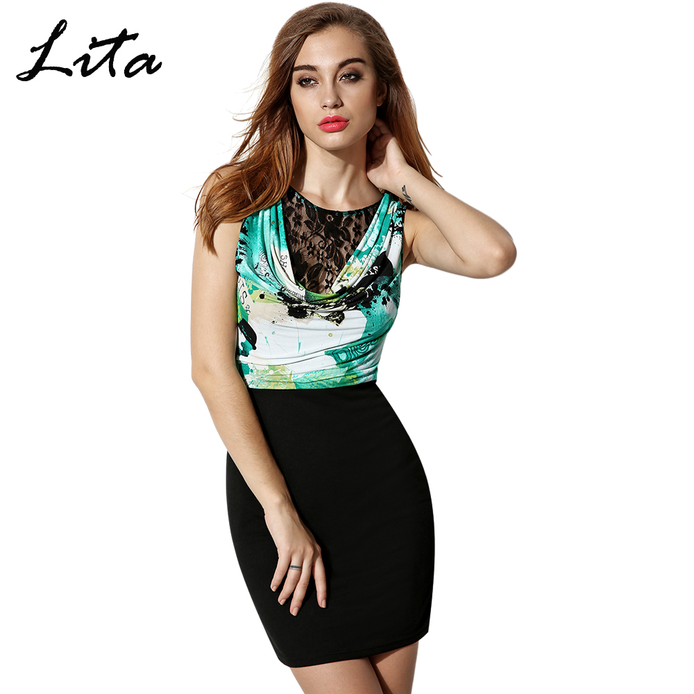 2016 New Fashion Women Splicing Lace Dress Bodycon Party Club Pencil Dress O Neck Sleeveless