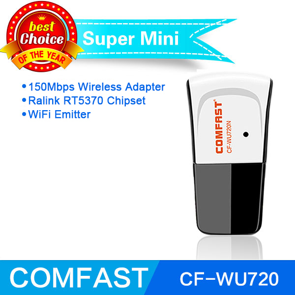 Comfast CF-WU720 Ralink RT5370 Usb Wifi Adapter 150Mbps Mini USB Wireless Network Card wifi dongle with CD driver free shipping(China (Mainland))