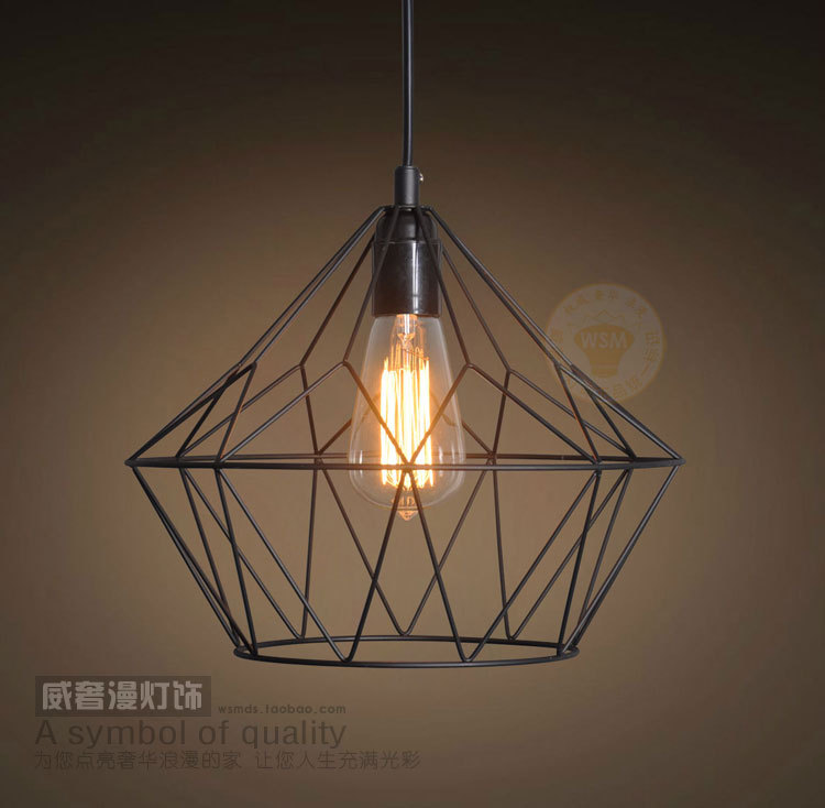 Contemporary Industrial Black Diamond Shade Pendant Light Retro Art Deco Bar Store Mid Century Rustic Metal Edison Hanging Lamp(China (Mainland))