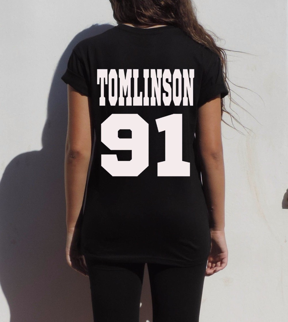 Free Shipping Tomlinson 91 Louis Tomlinson t shirt One Direction Directioner pop rock 1D Tee Women Basic Sport tops Plus Size(China (Mainland))