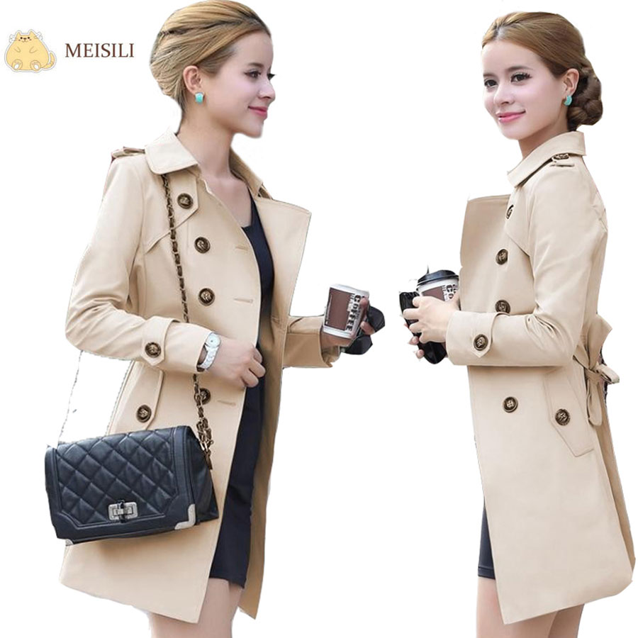 Double Breasted Md-long Trench Coat Women 2016 New Fashion Belt Cloak Polerones Mujer Windbreaker Female Abrigos - Sunlight Sea Store store