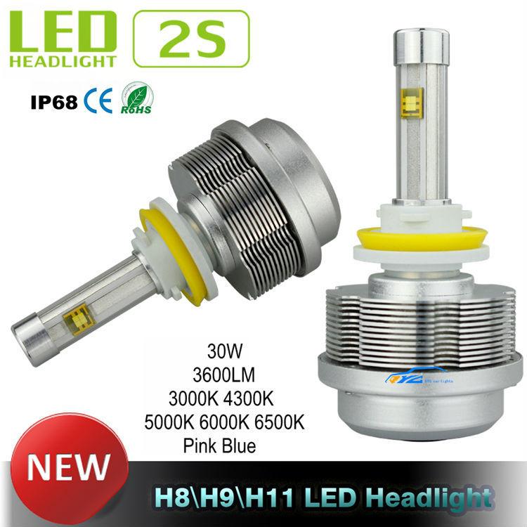 Generation 2S LED Car Headlight CREE ETI Flip Chips 12V Car Headlight 30W 3600LM Aluminum H8 H9 H11 LED Headlight conversion Kit(China (Mainland))