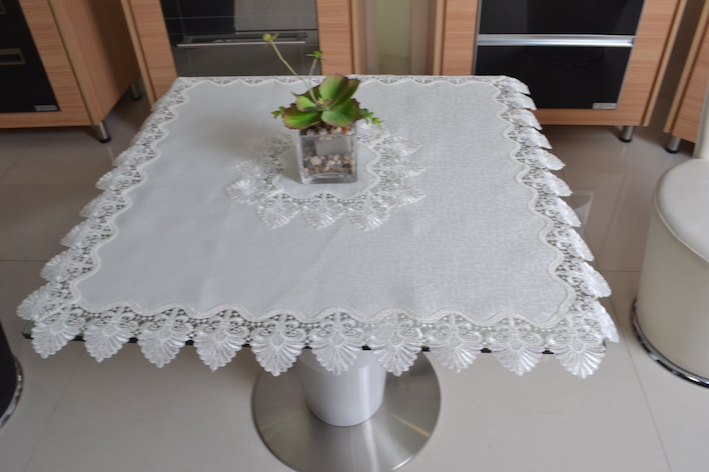 BESATA 36*36 Inches White Lace Floral Tablecloth USA Home Party(China (Mainland))