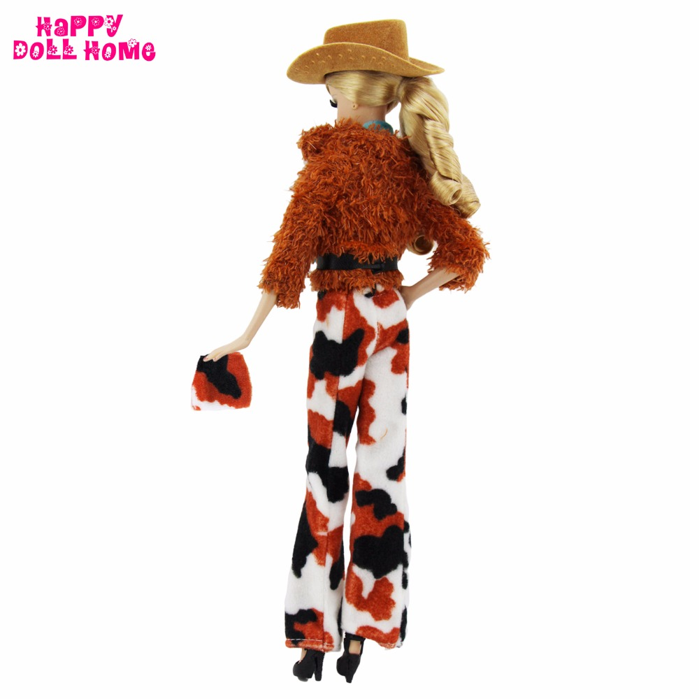 Style Outfit Informal Put on Cowboy Hat Wool Coat Handmade Scarf Trouser Vest Purse Shoe For Barbie Doll Garments Equipment Toy