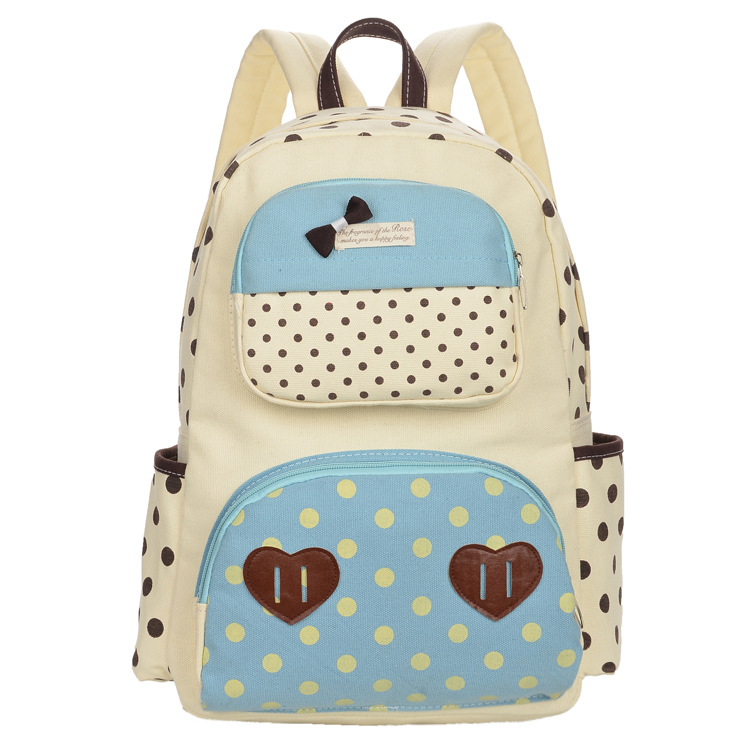 2015 Korean Style Fashion Students Backpack Schoolbag Girls Double-shoulder School Bags Women Canvas Dots Printing Cute Backpack(China (Mainland))