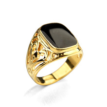 Real Italina 18KRGP Yellow Gold White Gold Plated Luxury Brand Vintage Rings for men wedding New Sale Hot #RG91168R(China (Mainland))