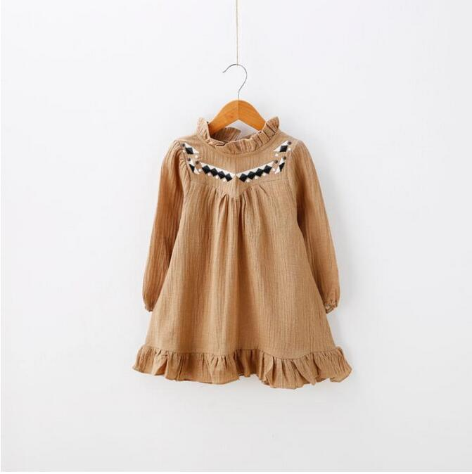 12-28hh1963538 2016 New Fashion Baby Girls Dresses Solid Embroidery Flower Dress Lolita Kids Clothes Supplier