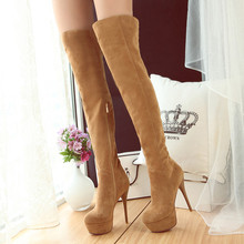 Sexy Black Suede Over The Knee Boots Women 2016 Brand Ultra High Heels Boots Platform Thin Heels Long Boots Ruslana Korshunova(China (Mainland))