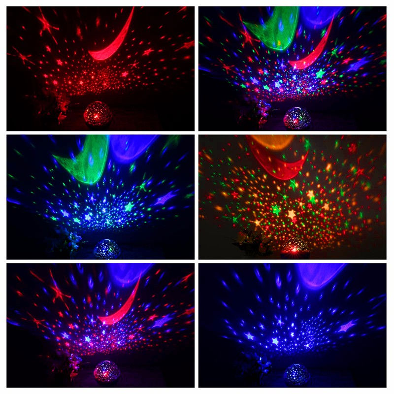 2017 New Romantic New Rotating Star Moon Sky Rotation Night Projector Light Lamp Projection with high quality Kids Bed Lamp