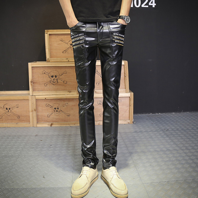 Korean Urban Clothing Hip Hop Faux Leather Skinny Slim Fit Pants Zipper Joggers Trousers With Letters Printed For Men(China (Mainland))
