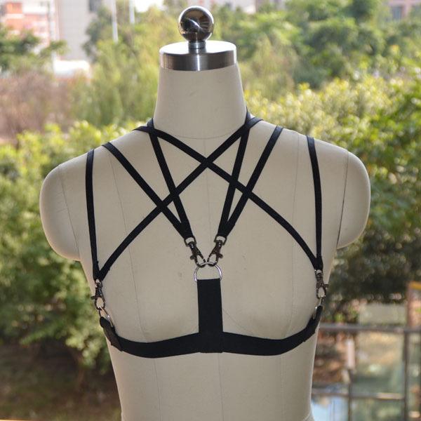 Женская мода, Пентаграмма черный эластичный жгут сексуальная кейдж бюстгальтер, Сексуальная ...