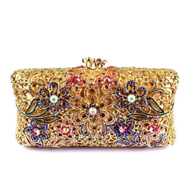 Good Quality Woman Bag Hollow Out Square Clutch Bag for Women Floral Luxury Crystal Clutch Evening Bags Cheap Gold Purse Uk Sale(China (Mainland))