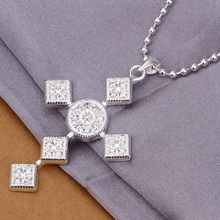 925 sterling silver jewelry fine fashion lucky small square link cross pendant necklace men's women wedding wholesale jewelry