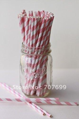 Free shipping Striped Paper Straws Drinking Paper Straws 508C pink  500pcs