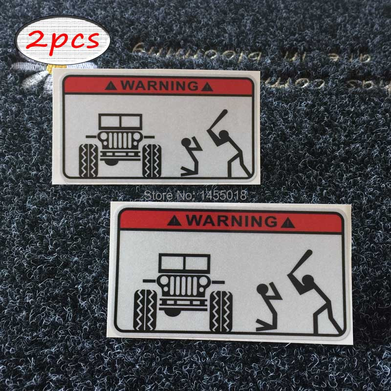 2X Funny Warning Bumper Sticker Decal Car Covers Styling Stickers For Jeep Label 4x4 Truck Tool Box Lunch Box Helmet(China (Mainland))