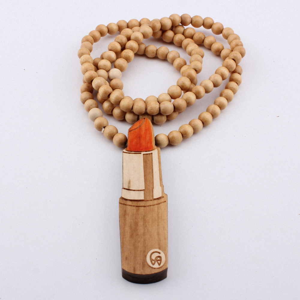 Lipstick Necklace Pendant GOOD WOOD Hip Hop Beads Wooden Necklaces Fashion Colorful Jewelry Best Gift MT027(China (Mainland))