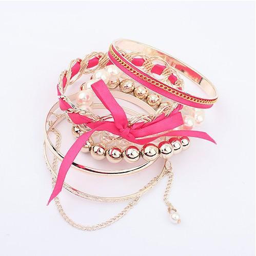 2014 Hot Selling Fashion Pearl bracelets Fine Sweet style knit bracelets bangles bow-knot Bracelet Female jewelry gift(China (Mainland))