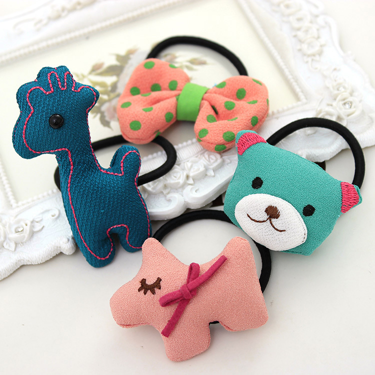 2015 New Arrival Real Hairbands Hair Clip Kids 9046 Candy Fabric Deer Hair Ring Cartoon Ornaments Korea Headdress String Band(China (Mainland))