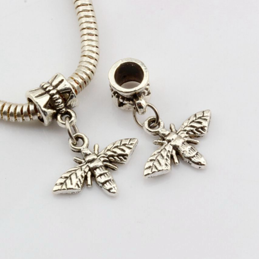 60 pcs ancient silver alloy bee dangle charms fit