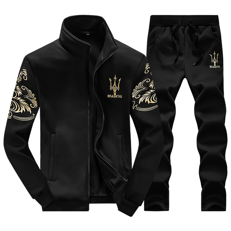 2016 Spring New Men's Hooded Sweatshirts Set Embroidery Golden Letter Pattern Men's Hoodies 3 Colors MaleTracksuit 4XL, PA035