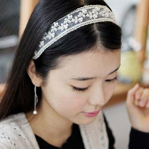 Beautiful Girl's Festival Lady Lace Pearl Beads Headband Hairband Elastic Hair accessiors Black And White Color(China (Mainland))