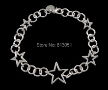 Free shipping!!! Jewelry Bracelet,Kawaii,, Brass, Star, real silver plated, nickel, lead & cadmium free, 21x18mm,16x13mm