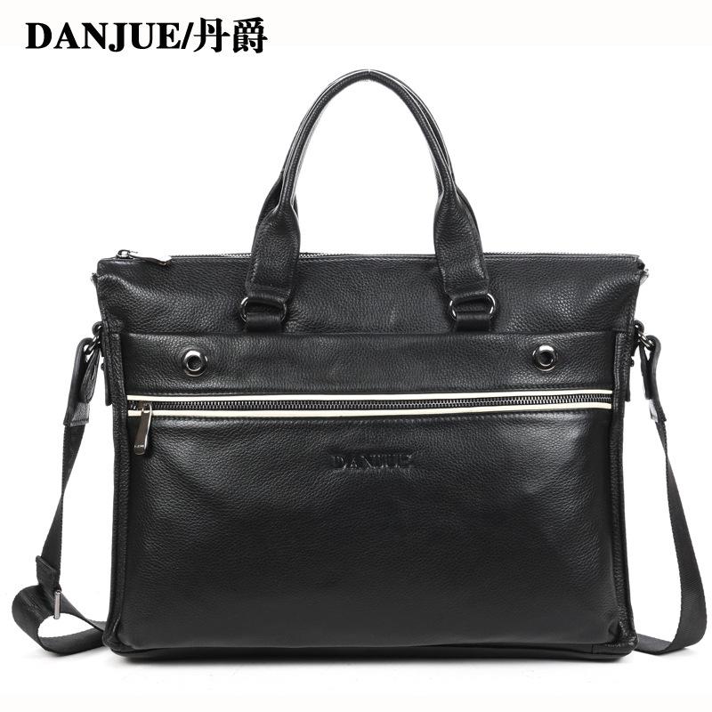 Promotion new men genuine leather Handbags mens business handbag Computer Bag Male fashion shoulder bag brand bags<br><br>Aliexpress