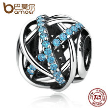 Buy BAMOER Authentic 925 Sterling Silver Blue Zirconia DIY Charms fit Bracelets & Bangles Women Accessories PAS331 for $8.99 in AliExpress store