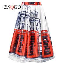 2016 New Fashion Women Summer Midi Skirts London red bus skirt Printing skirts High Waist Ladies street Free Shipping