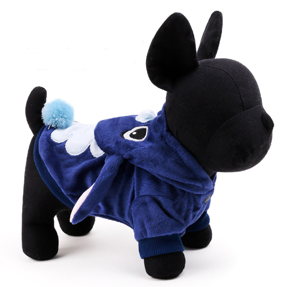 New Blue Dog Puppy Clothes Adorable Stitch Pet Dog Clothes Costumes Soft Coat Hoodie 5 Sizes Pet Apparel(China (Mainland))
