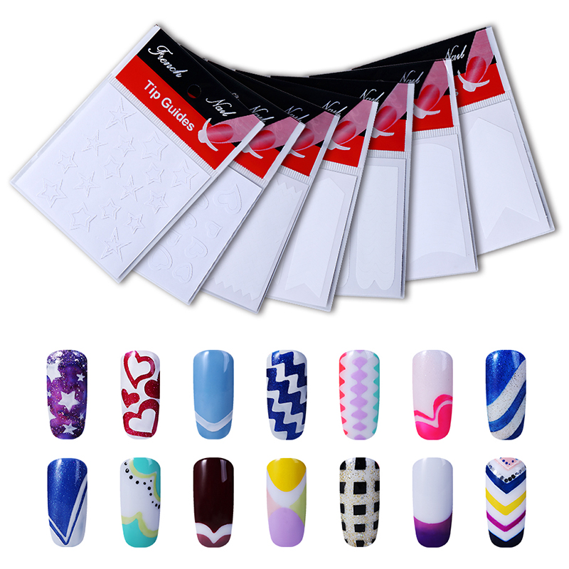 Belen 1pack French Nail Tips Sticker Nail Art DIY Stickers UV Gel Nail Polish Sticker Manicure Nail Forms Fringe Guides(China (Mainland))