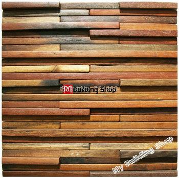 천연 나무 모자이크 타일 소박한 나무 벽 타일 nwmt003 부엌 ...