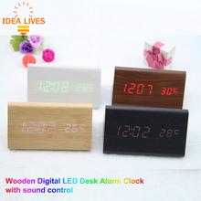 Digital LED Display Wooden style LED Alarm, Sounds Control despertador Temperature table clocks Lighting,1pcs/lot(China (Mainland))