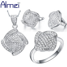 Almei 49% Off Bijuterias Vintage Silver Square Setting Full Crystal Flower CZ Diamond Jewelry Sets Woman casamento 2017 T051(China (Mainland))