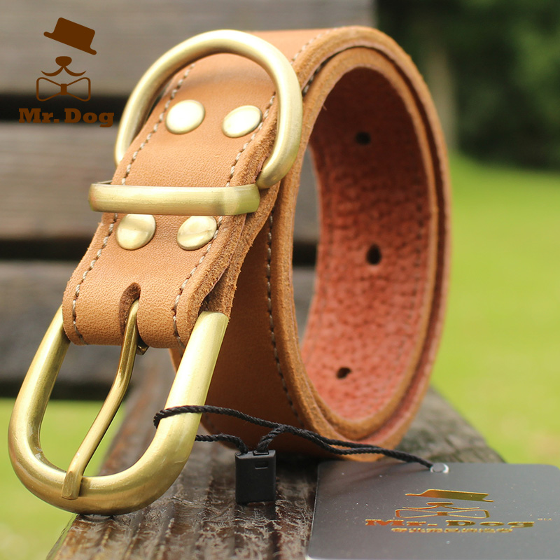 2015 Real Solid Dog Harness Large Dog Collar Leather Arnes Perro Large Dogs Golden Leather Pet Collar Pure Handmade(China (Mainland))