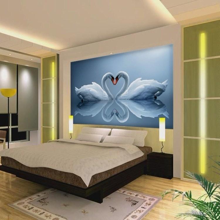 Buy romantic 3d environmental mural swan for Home 3d wallpaper wallcovering