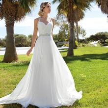 Vestido Noiva Praia Cheap Chiffon Wedding Dresses Halter Sleeveless Wedding Dresses For Brideses 2016 New White/Ivory Size 2-26(China (Mainland))