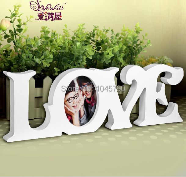 Free Shipping 1X White LOVE  Photo Frame Swing Sets Hanging Home Photo Frame Day Gift Wedding Home Decoration