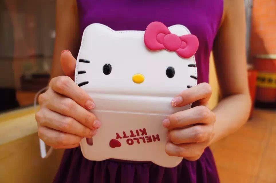 Bestselling high quality leather 3D hello kitty cases for iphone 6 apple 6plus mobile phone flip wallet cardholder fundas(China (Mainland))