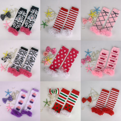 Christmas Leg Warmers - Ruffle Lace Legging Arm Warm - Infant Baby Toddler Little Girl Boy