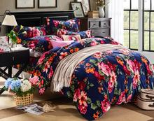 freeshipping  new fashion bedding set 4pcs with plant print duvet cover pillowcase and bed sheet(China (Mainland))