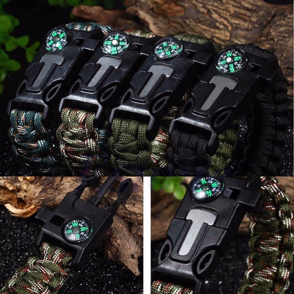 5 in1 Paracord Survival Bracelet Rope Compass Flint Fire Starter Scraper Whistle(China (Mainland))