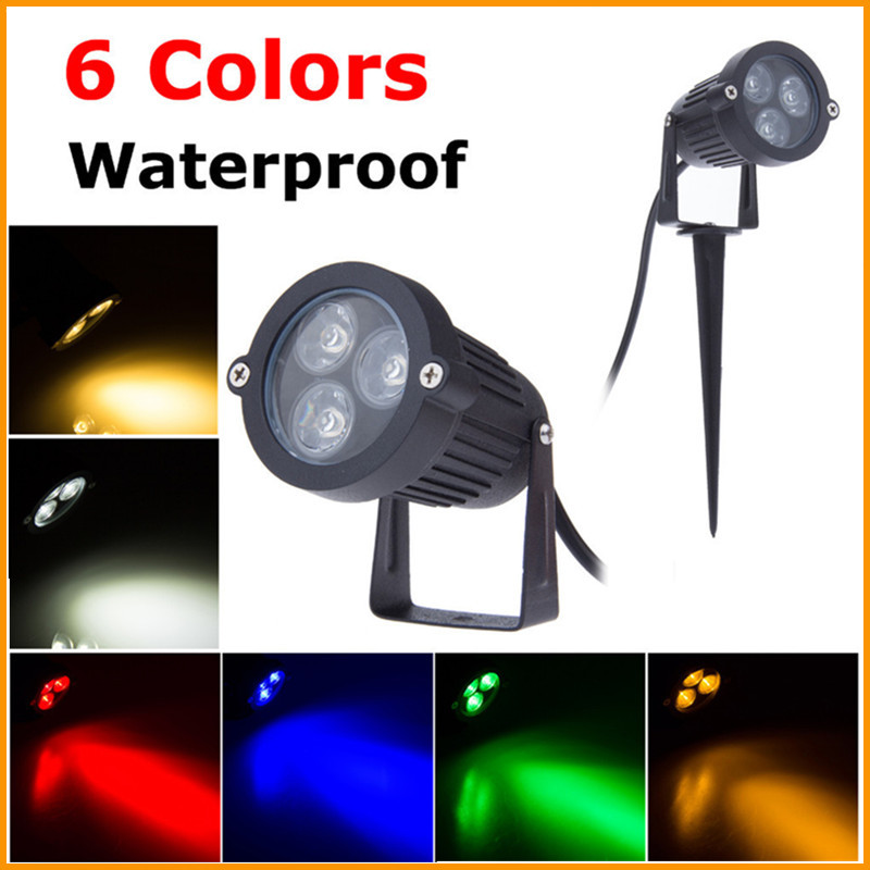 9W LED Lawn Lamp 110V 220V IP68 Waterproof Outdoor Lighting Green Yellow Red Blue White 3*3W LED Lawn Spike Light For Garden(China (Mainland))