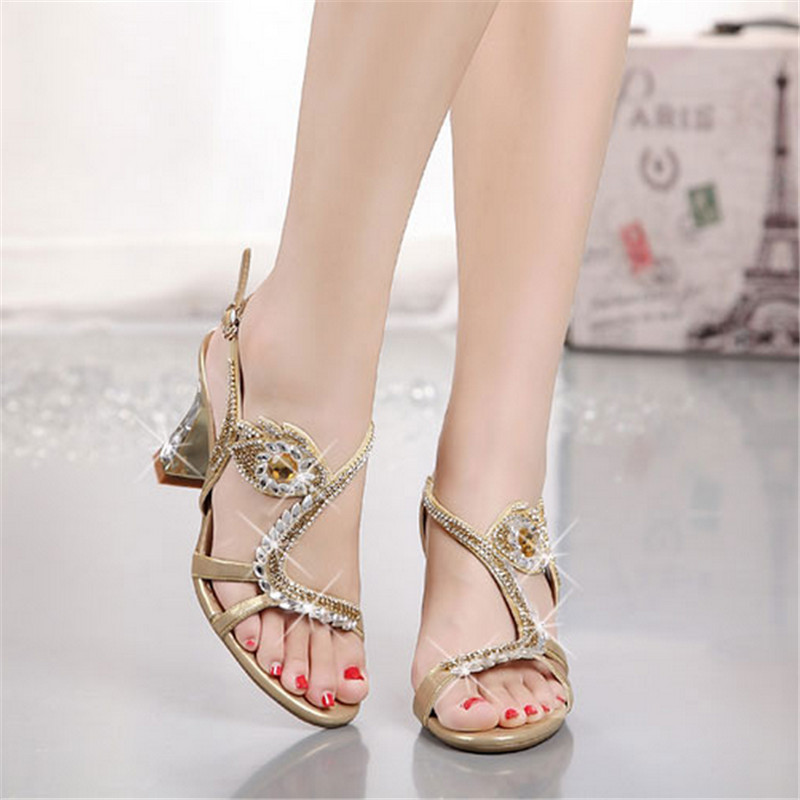 Genuine leather high heel rhinestone sandals 2016 spring and summer womens diamond sandals thin heels sexy open toe 33 shoes<br><br>Aliexpress