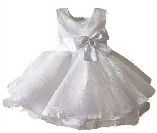 Скидки на ДЕТСКИЕ WOW Новорожденных Девочка Свадебное Платье Vestidos Bapteme Крещение Девочка Крещение Платья Белый на 1 Год Рождения 8004